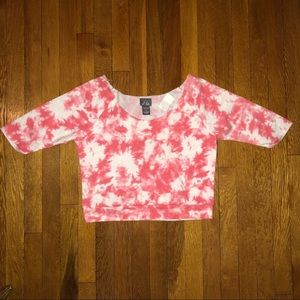 Pink & White Tye Dye Off-Shoulder Cropped Sweater